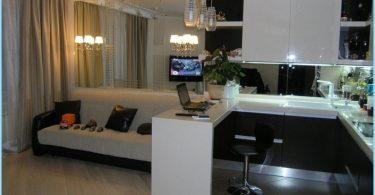 Ontwerp woonkamer 30, 40 vierkante meter, met keuken + foto\'s